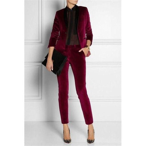 Women Suit Pants, Business Office Trouser Suit, Burgundy-Suit-Kenya-LeStyleParfait.Co.Ke