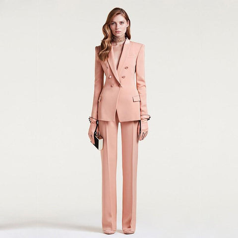 Women Suit Pants, Double Breast, Pink-Suit-Kenya-LeStyleParfait.Co.Ke