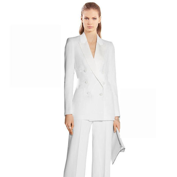 Women Suit Pants, Double Breast Suit, White-Suit-Kenya-LeStyleParfait.Co.Ke