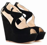 Women Wedge Shoes, High Heels Sandals, Big Size Shoes-Shoes-Black-Le Style Parfait Kenya