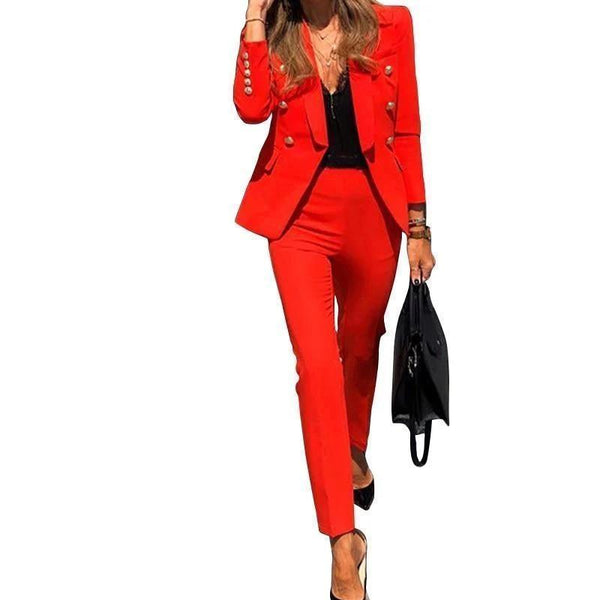 Women's Pants Suit, Notched Blazer, Pencil Pants-Suit-Kenya-LeStyleParfait.Co.Ke