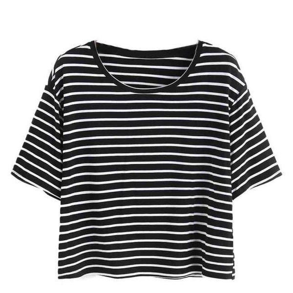 Womens T-Shirts Striped Crop Tshirt-Women Tops-Kenya-LeStyleParfait.Co.Ke