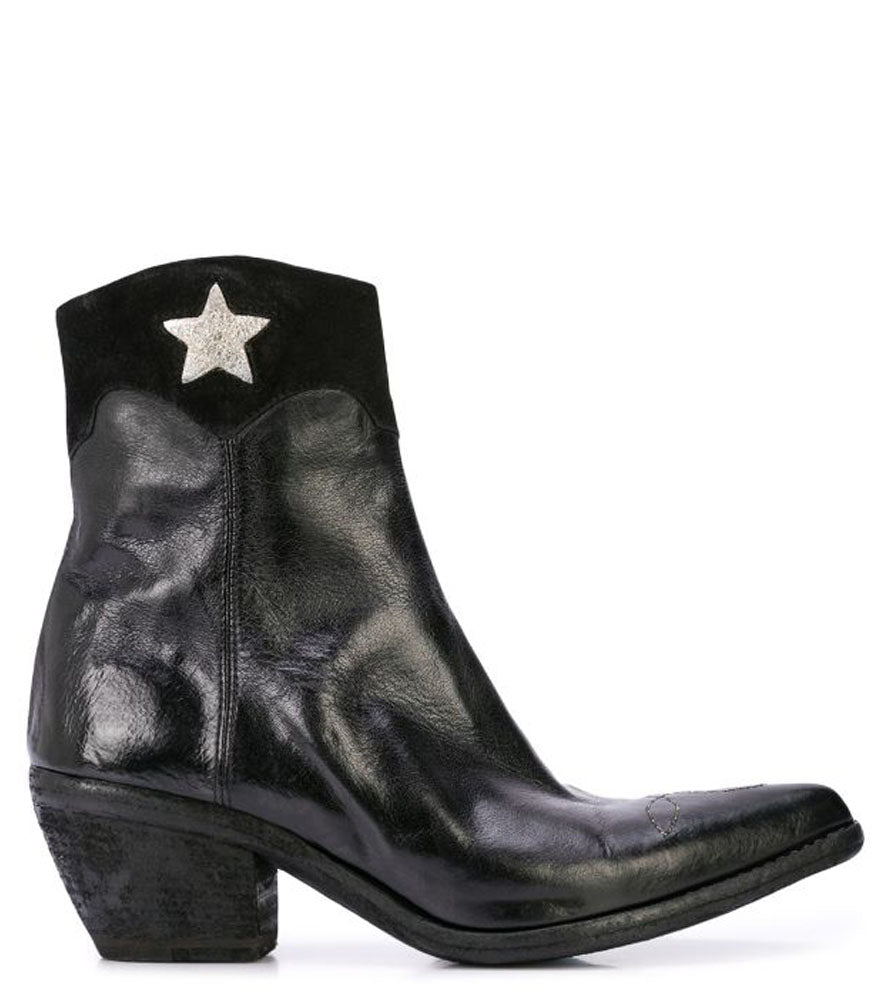 Madison Maison By Fauzian Jeunesse Black Leather Boot W/ Gold Star  Detail