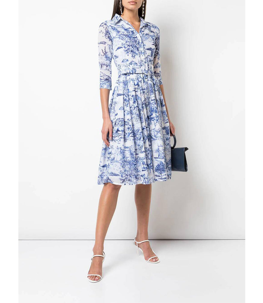 Samantha Sung Audrey #2 Blue/White Da Vinci Toile Pattern Dress