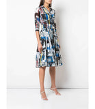 Samantha Sung  Audrey #2  Newman Abstract Multi Pattern Dress