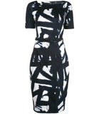 Samantha Sung Celine Kline Pattern Navy White Dress
