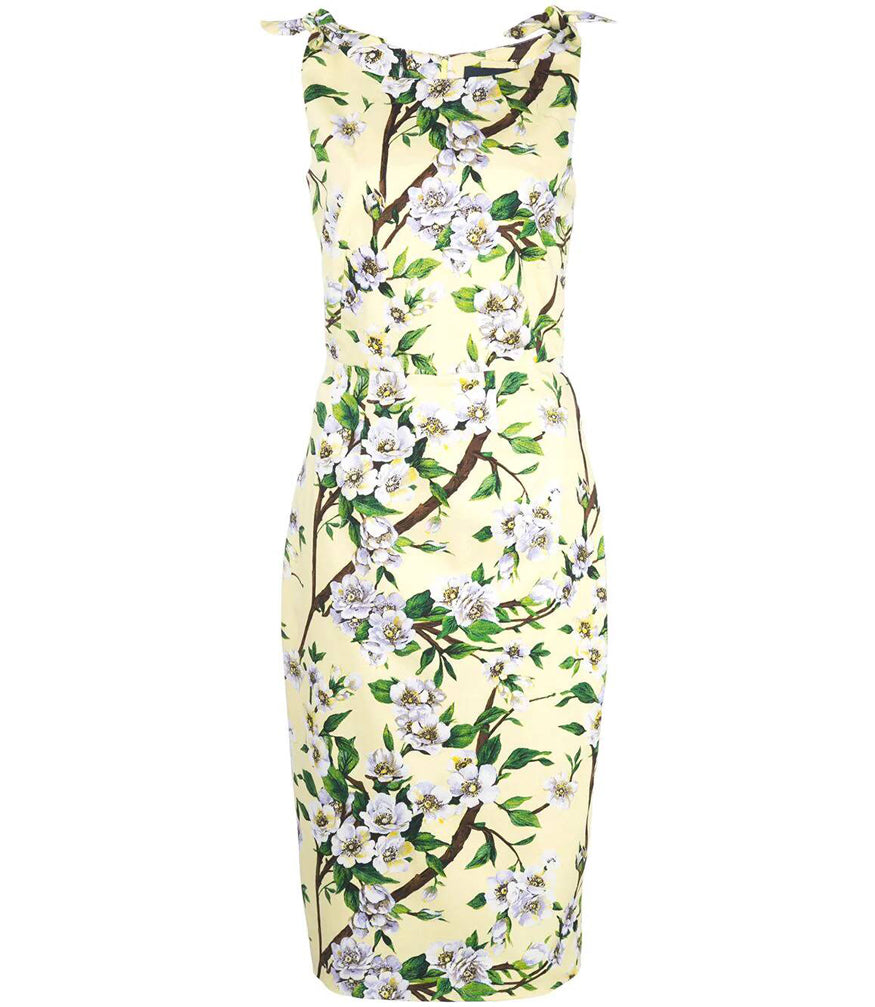 Samantha Sung Soft Yellow Monroe Wood Rose Print Dress