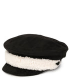 Charlotte Simone Black Cream Trim Faux Suede Baker Boy Hat