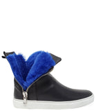 Madison Maison Black Leather w/ Blue Fur Hi Top Sneaker
