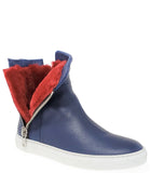 Madison Maison Navy Leather w/ Red Fur Hi Top Sneaker