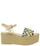 Madison Maison by Pablo Gilabert Woven Leather Wedge Gold Multi