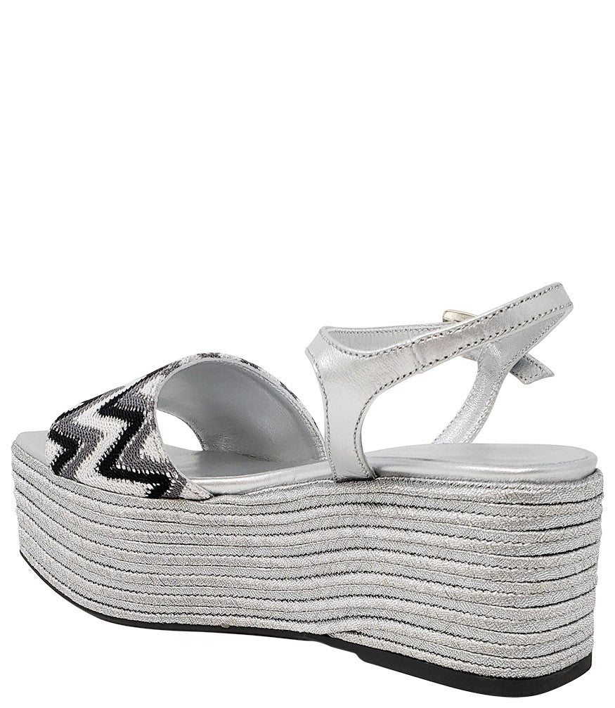 Madison Maison By Pablo Gilabert Woven Leather Wedge Silver Black White