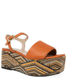 Madison Maison By Pablo Gilabert Woven Leather Wedge Orange