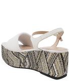 Madison Maison By Pablo Gilabert Woven Leather Wedge White Multi