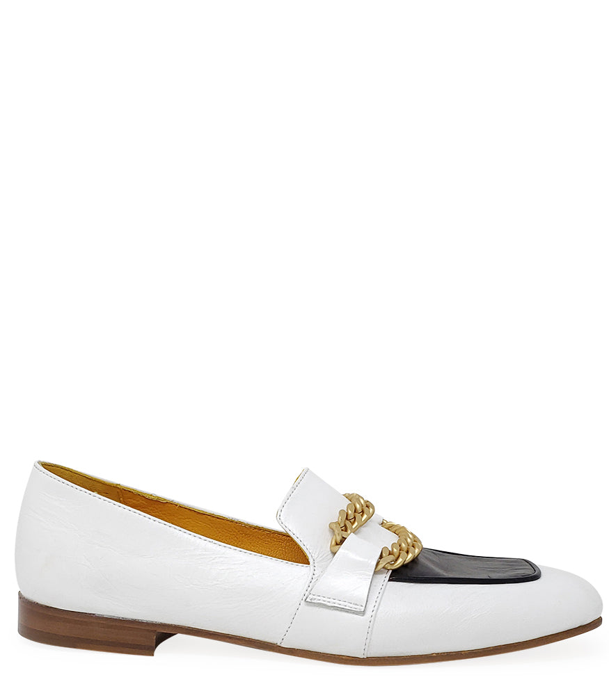 MADISON MAISON BY MARA BINI FLAT LOAFER WHT/BLK