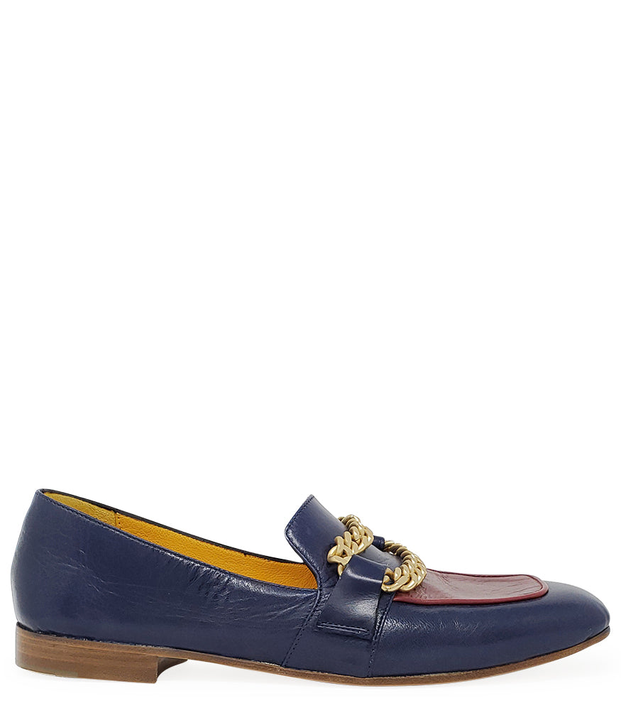 MADISON MAISON BY MARA BINI FLAT LOAFER BLUE RED