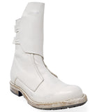 Moma White Leather Mid Calf Boot
