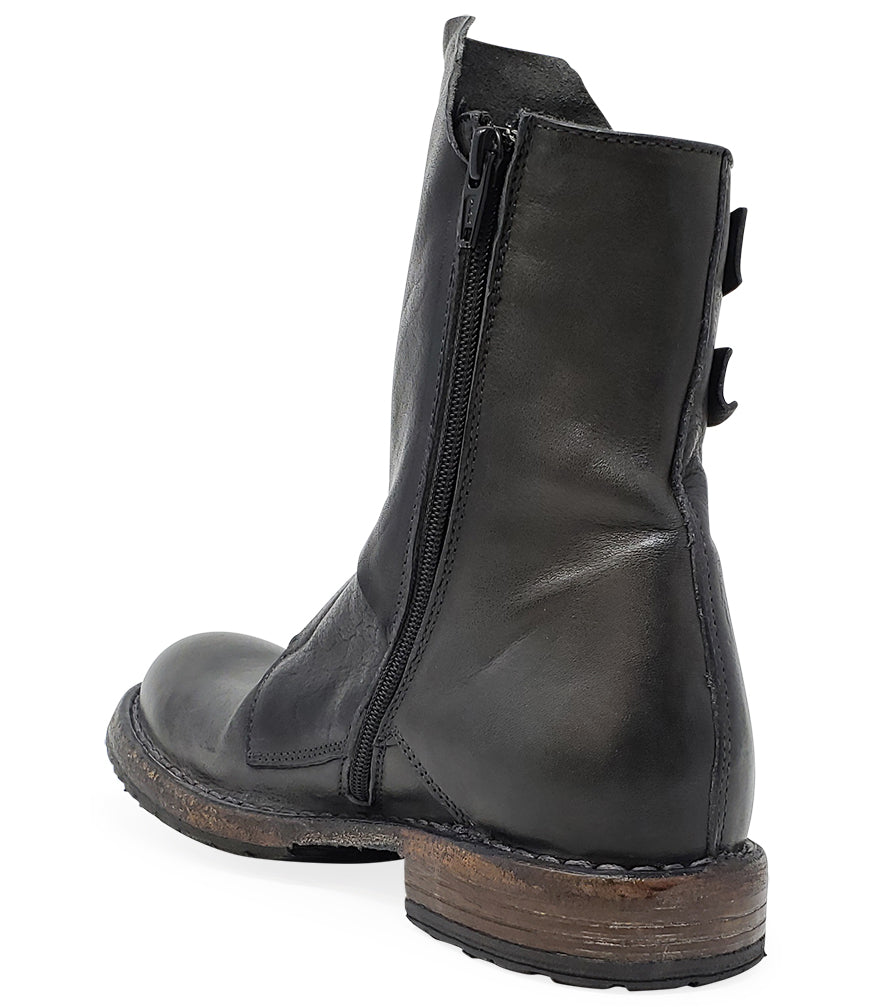 Moma Grey Leather Mid Calf Boot