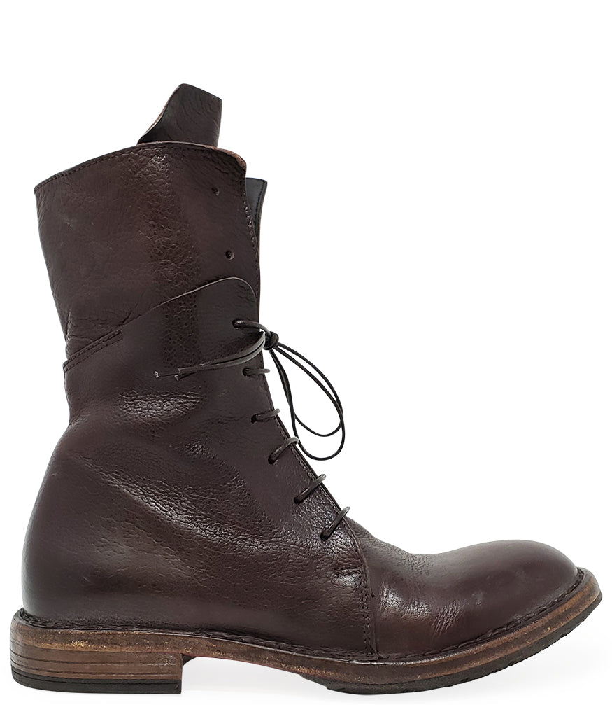 Moma Brown Leather Mid Calf Boot