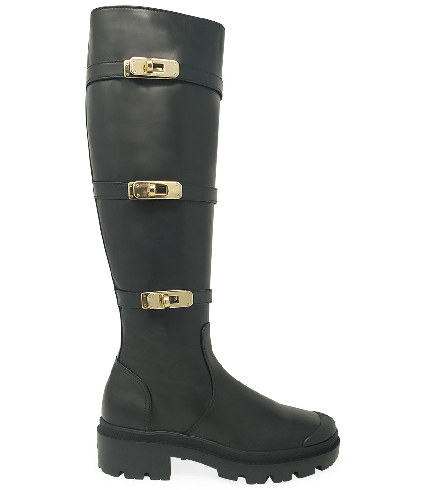 Madison•Maison x Palladium Black Leather Knee High Buckle Boot