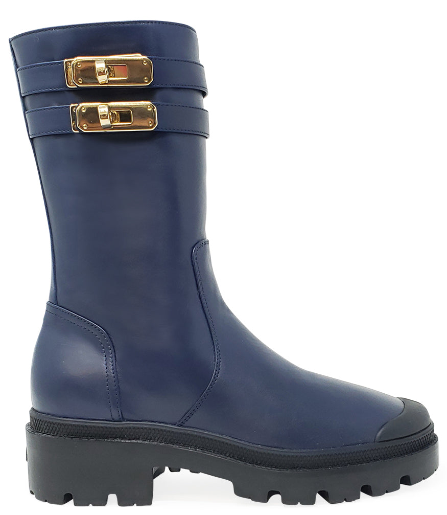 Madison•Maison x Palladium Mid Blue Shearling Double Buckle Boot
