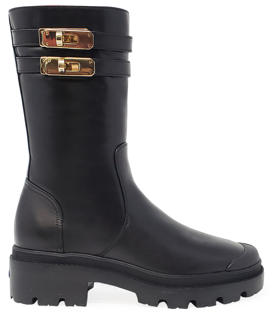 Madison•Maison x Palladium Black Shearling Double Buckle Boot