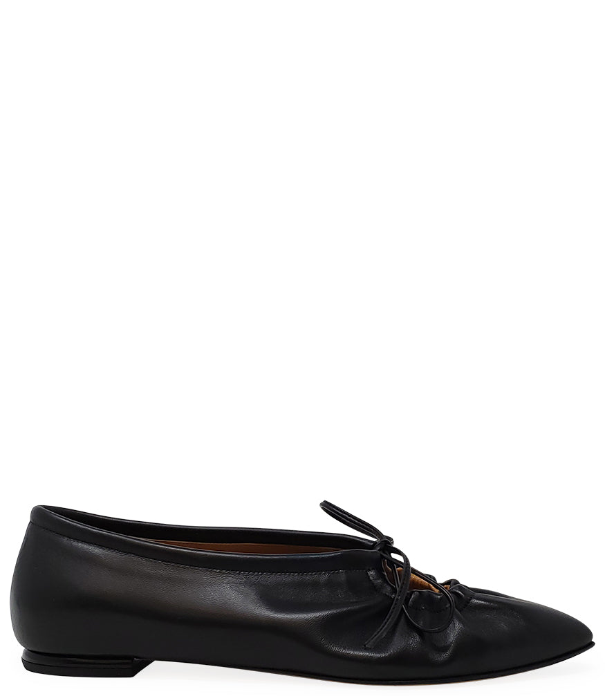 Madison•Maison by Sergio Amaranti Black Leather Pointy Lace up Ballerina