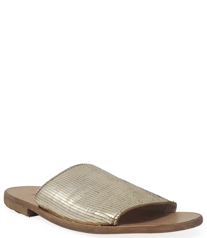 Moma Gold Leather Slip On Loafer
