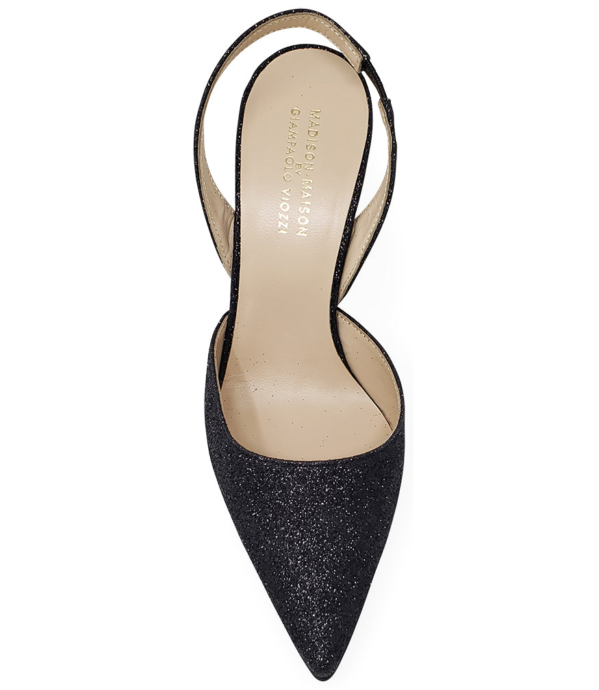 Madison Maison by Giampaolo Viozzi Black Glitter Hi Heel