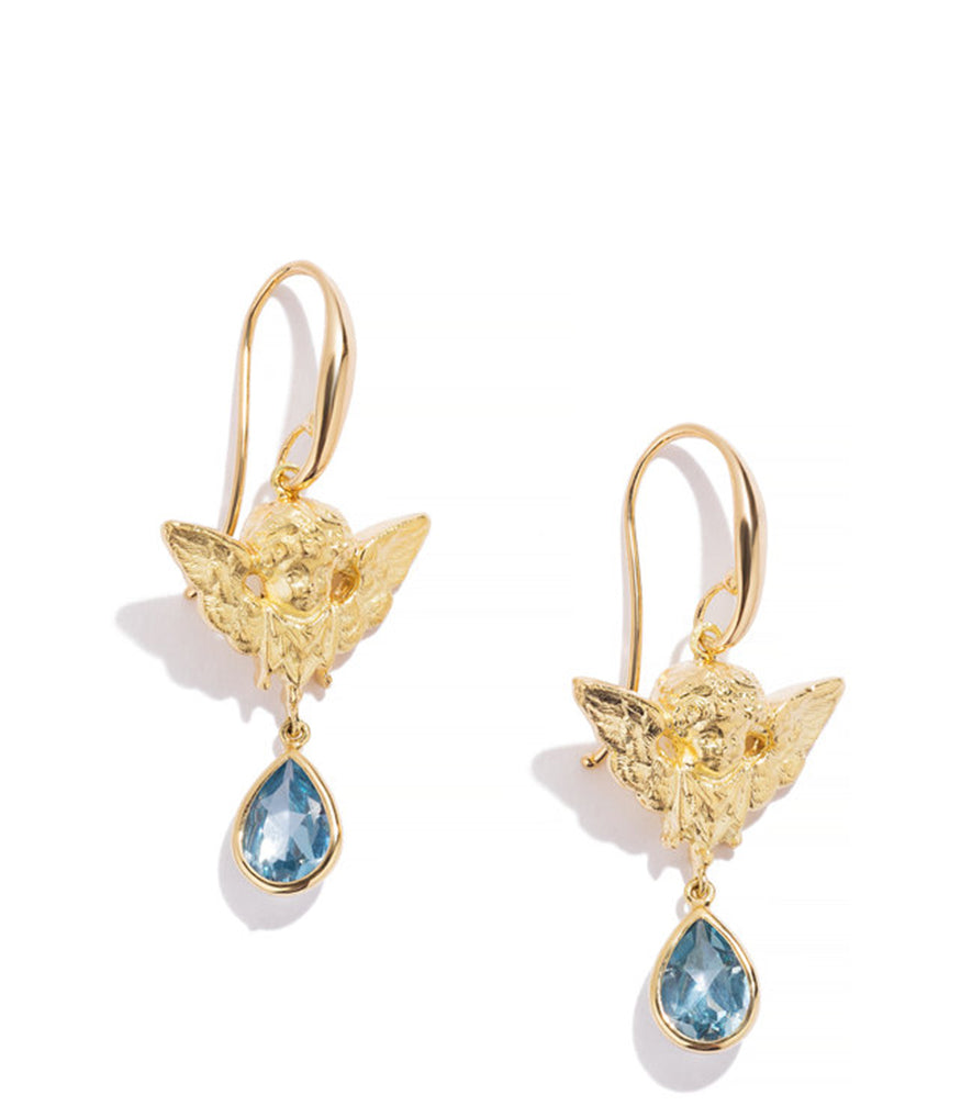 RENATO CIPULLO AMORINI EARRINGS CHERUB BUSTS W PEAR SHAPED BLUE TOPAZ