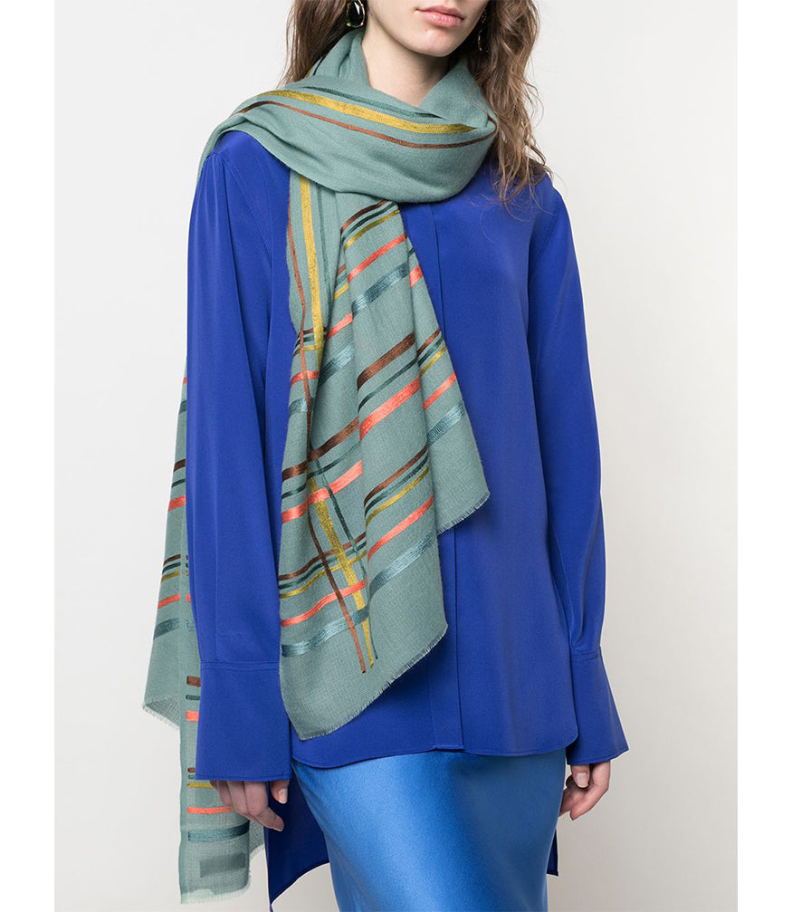 K. JANAVI HORIZONTAL STRIPED MINT SCARF