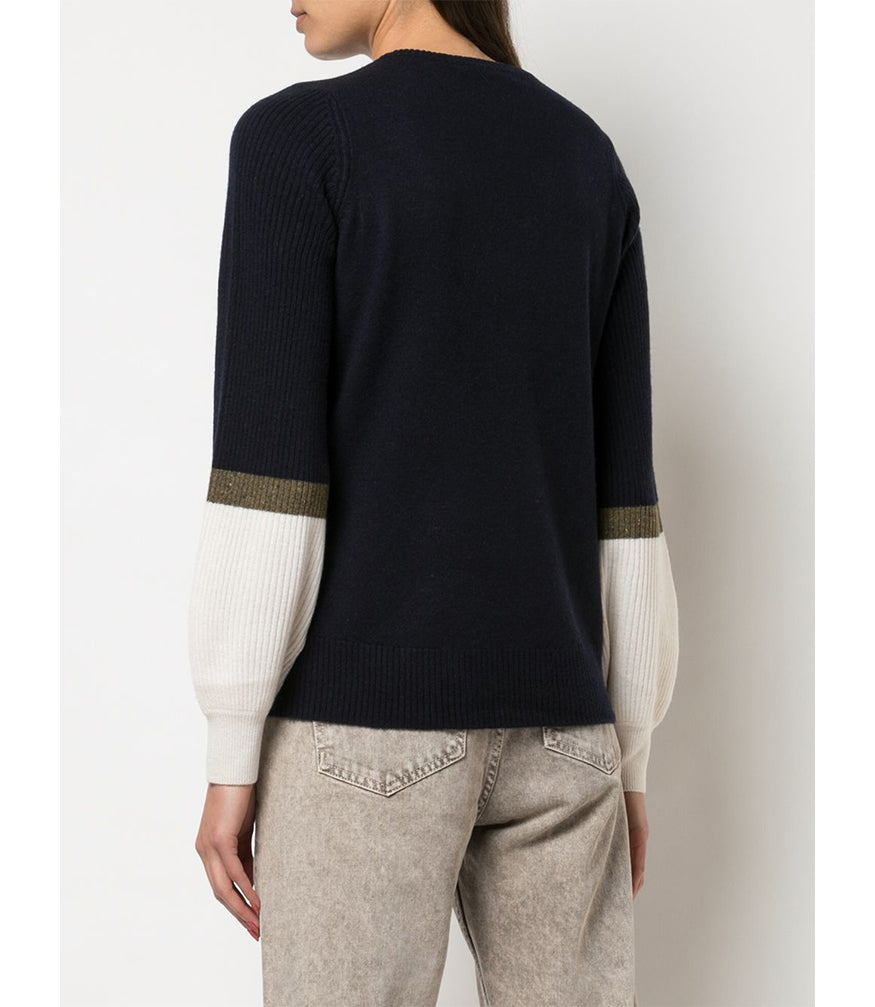 Duffy Navy/Olive Bell Sleeve Sweater
