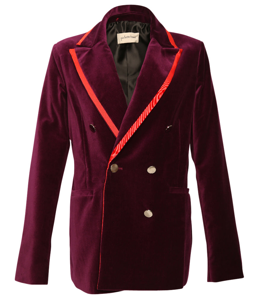 Giuliette Brown Violet Velvet Double Breasted Woven Jacket