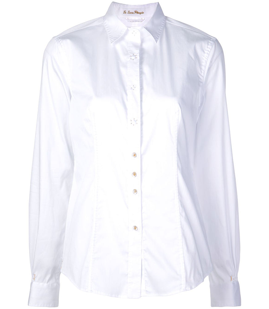 Le Sarte Pettegole White Cotton Button Up Blouse