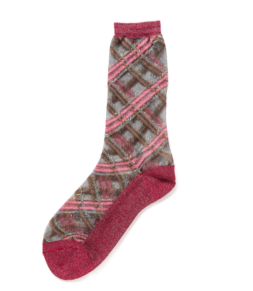 Alto Milano Pave Bordeaux Plaid Socks