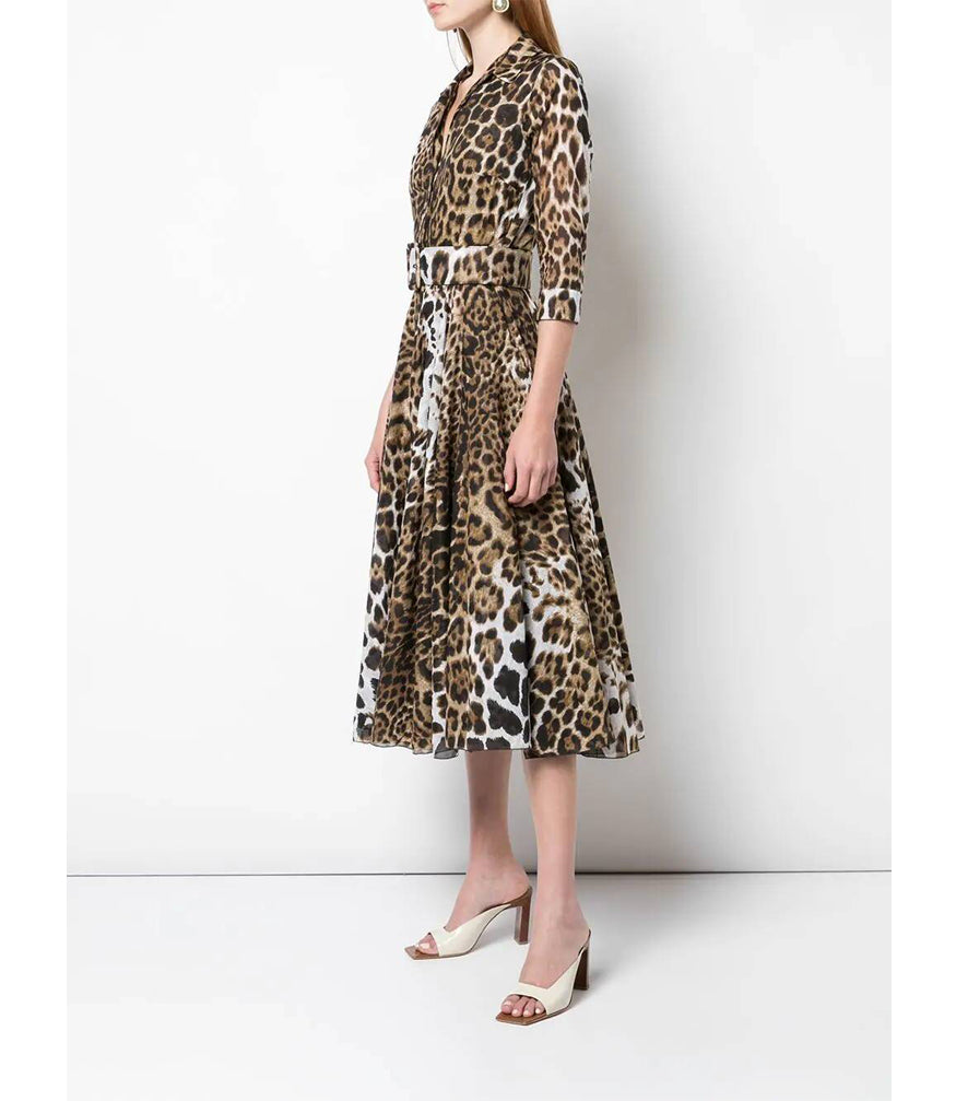 Samantha Sung Camel Leopard Aster Dress