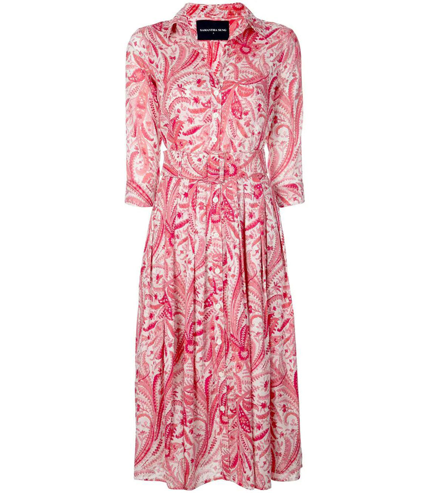Samantha Sung White/Coral Summer Paisley Musola Audrey Dress