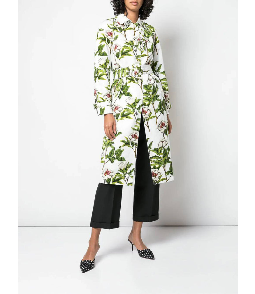 Samantha Sung White Peony Full Bloom Yvest Trench Coat