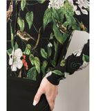 Samantha Sung Carolina Cardigan In Black Hibiscus And Bird Print