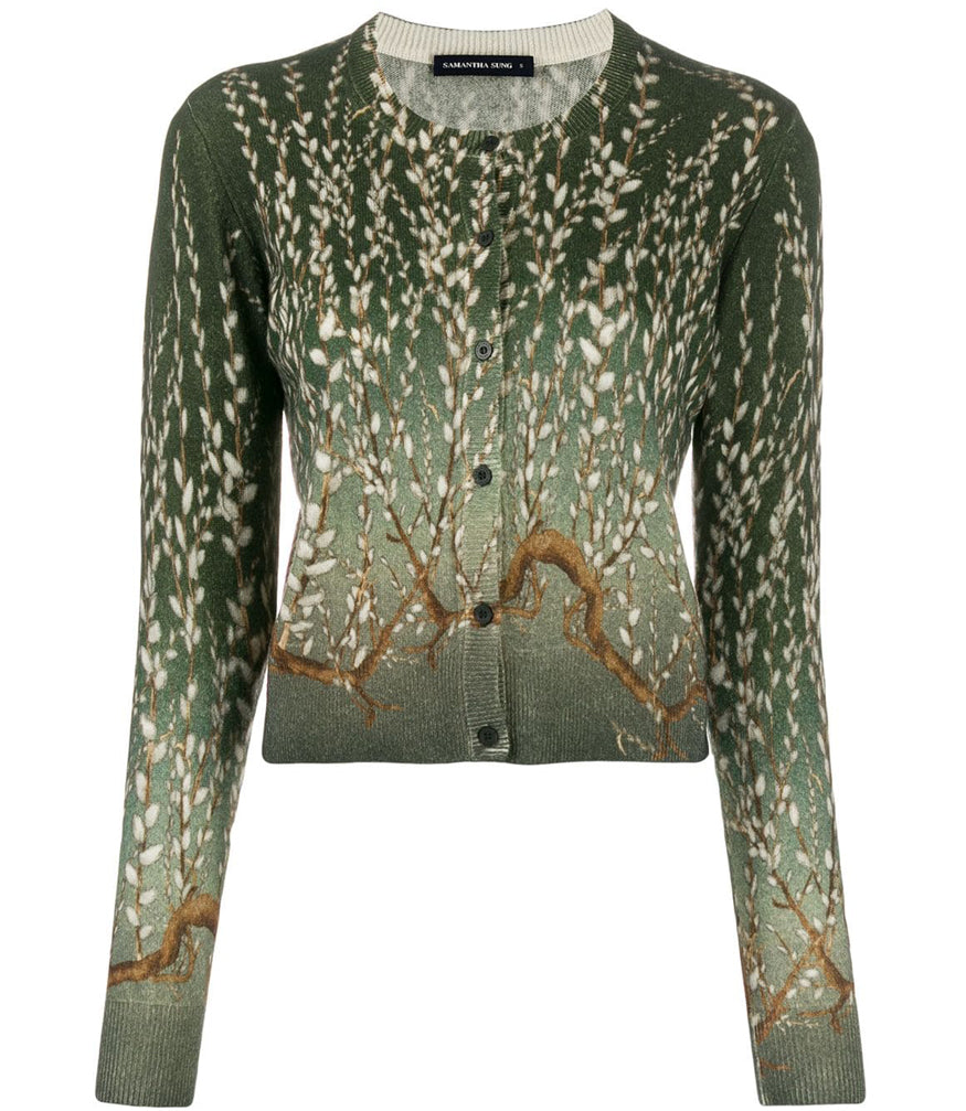 Samantha Sung Carolina Cardigan In Green Willow Print