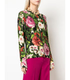 Samantha Sung Black Multi Rose Garden Carolina Pullover