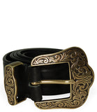 Post & Co Black Vintage Leather With Gold Buckle Belt