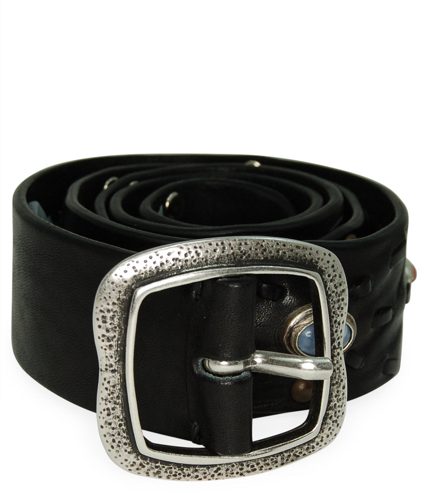 Post & Co Black Vintage Leather With Stone Detail Belt