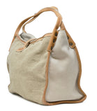 White Multi Material Shopping Bag