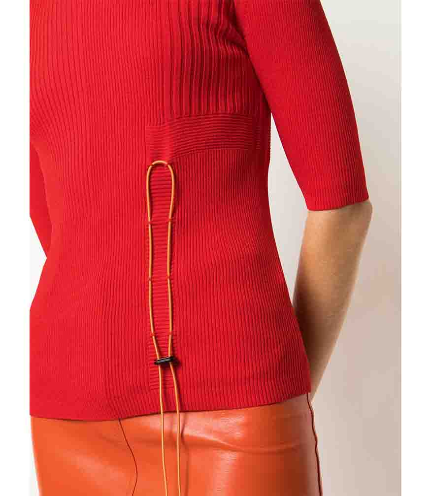 I am Chen Drawstring Top Red