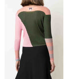 I Am Chen Colorblock Top Dark Green