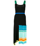 I Am Chen Black Silk Knit Pleated Dress