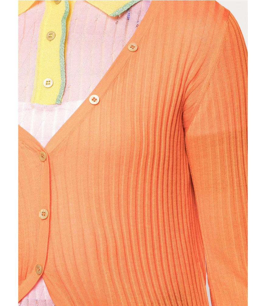 Orange Contrast Cardigan