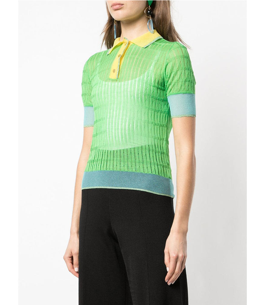Green Silk Polo Top