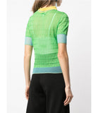 I Am Chen Green Silk Polo Top